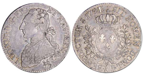 Louis XVI (1774-1792) -  cu aux branches dolivier - 1791 .A (Paris) 2me sem