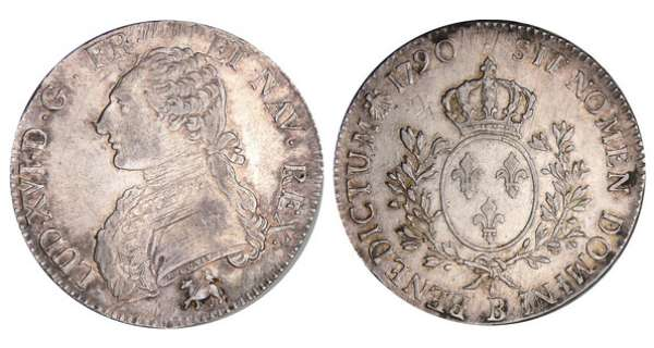 Louis XVI (1774-1792) - Ecu aux branches dolivier - 1790 B (Rouen)