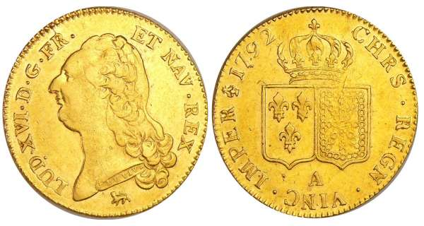 Louis XVI (1774-1792) - Double louis d'or au buste nu - 1792 A (Paris) 2ème sem