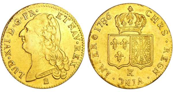 Louis XVI (1774-1792) - Double louis d'or au buste nu - 1786 K (Bordeaux) 1er sem