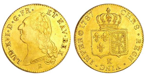 Louis XVI (1774-1792) - Double louis d'or au buste nu - 1787 K (Bordeaux) 1er sem