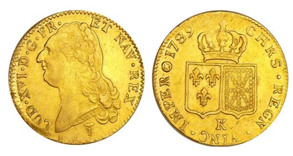 Louis XVI (1774-1792) - Double louis d'or au buste nu - 1789 K (Bordeaux) 1er sem