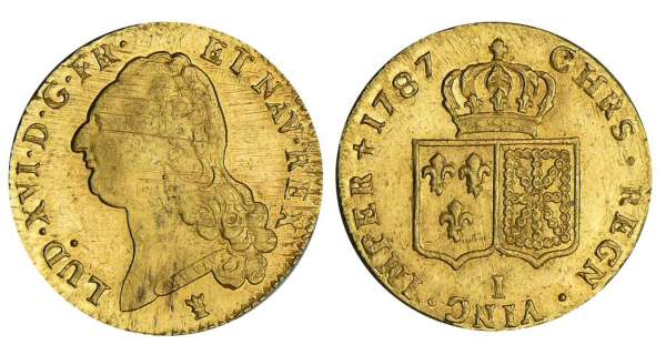 Louis XVI - Double louis dor au buste nu - 1787 I (Limoges) 2me sem