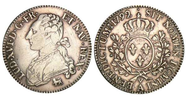 Louis XVI -  cu aux branches dolivier - 1792 A (Paris) 92 sur 91