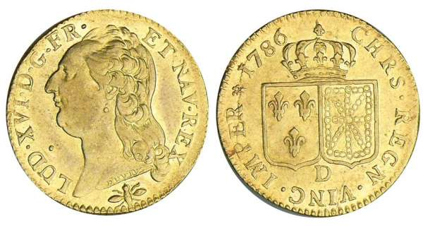 Louis XVI - Louis dor au buste nu - 1786 D (Lyon) 2me sem
