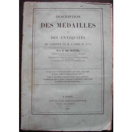 Mdailles et antiquits du cabinet de M. l' Abb H. par J. De Witte - 1856