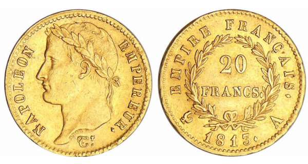 Napoléon 1er (1804-1814) - 20 francs revers empire 1813 A (Paris)
