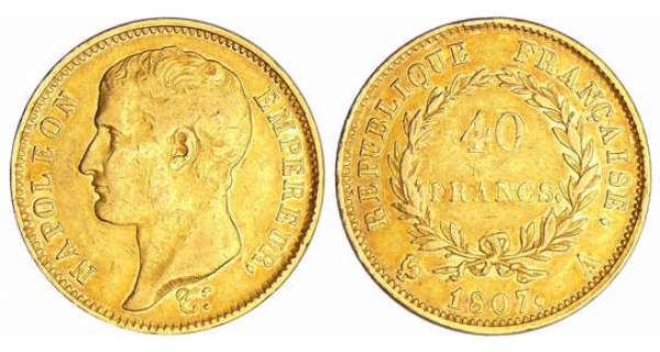Napoléon 1er (1804-1814) - 40 francs revers république 1807 A (Paris)