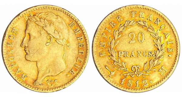Napoléon 1er (1804-1814) - 20 francs revers empire 1812 M (Toulouse)