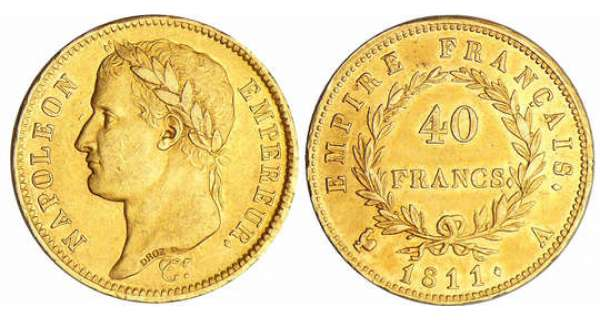 Napoléon 1er (1804-1814) - 40 francs revers empire 1811 A (Paris)