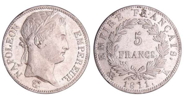 Napoléon 1er (1804-1814) - 5 francs revers empire 1811 K (Bordeaux)