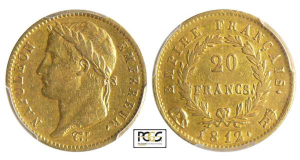 Napoléon 1er (1804-1814) - 20 francs revers empire 1812 R (Rome)