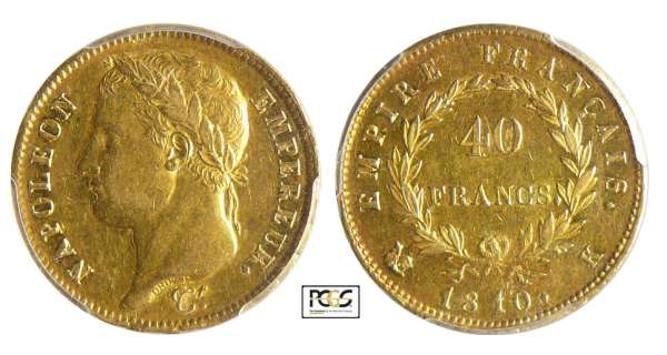Napoléon 1er (1804-1814) - 40 francs revers empire 1810 K (Bordeaux)