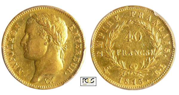 Napoléon 1er (1804-1814) - 40 francs revers empire 1813 CL (Gênes)