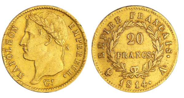 Napoléon 1er (1804-1814) - 20 francs revers empire 1814 A (Paris)
