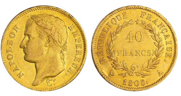 Napoléon 1er (1804-1814) - 40 francs revers république 1808 A (Paris)