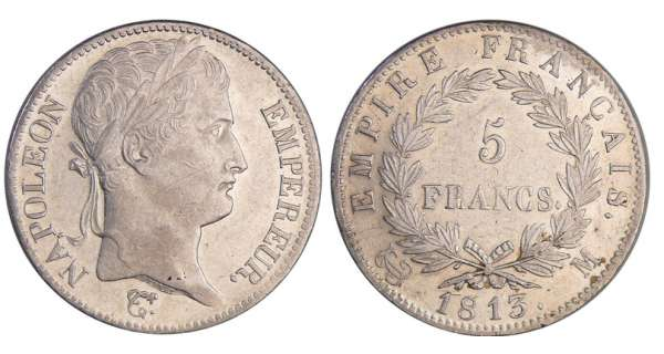 Napoléon 1er (1804-1814) - 5 francs revers empire 1813 M (Toulouse)