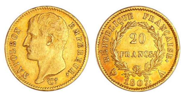 Napoléon 1er (1804-1814) - 20 francs revers république 1807 A (Paris)