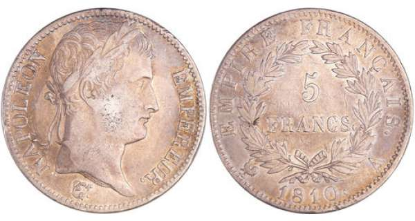 Napoléon 1er (1804-1814) - 5 francs revers empire 1810 A (Paris)