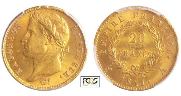 Napoléon 1er (1804-1814) - 20 francs revers empire 1811 A (Paris)