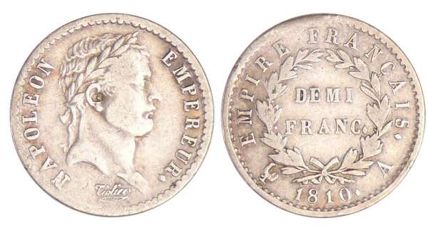 Napoléon 1er (1804-1814) - 1/2 franc revers empire 1810 A (Paris)
