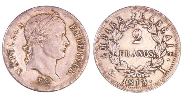 Napoléon 1er (1804-1814) - 2 francs revers empire 1813 I (Limoges)