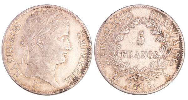 Napoléon 1er (1804-1814) - 5 francs revers république 1808 A (Paris)