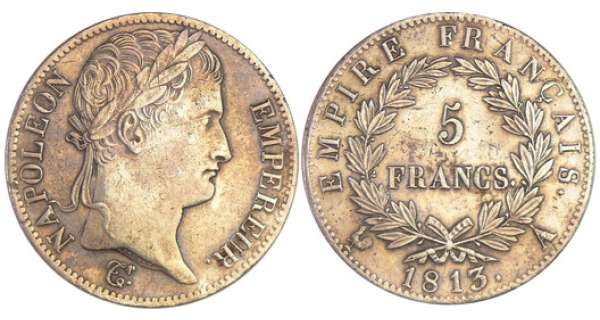 Napoléon 1er (1804-1814) - 5 francs revers empire 1813 A (Paris)