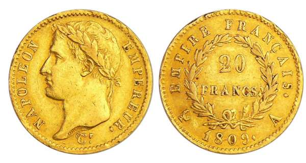 Napoléon 1er (1804-1814) - 20 francs revers empire 1809 A (Paris)