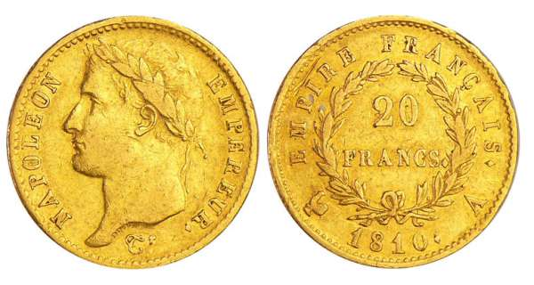 Napoléon 1er (1804-1814) - 20 francs revers empire 1810 A (Paris)