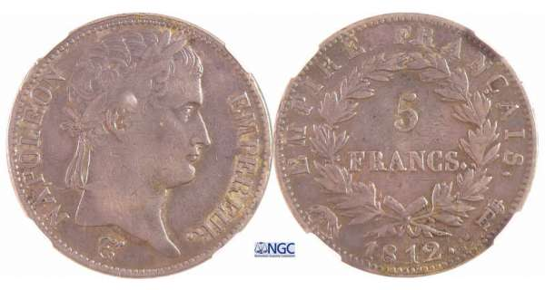 Napoléon 1er (1804-1814) - 5 francs revers empire 1812 R (Rome)