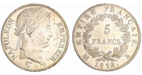 Napoléon 1er (1804-1814) - 5 francs revers empire 1812 K (Bordeaux)