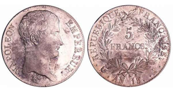 Napoléon 1er (1804-1814) - 5 francs An 13 A (Paris)