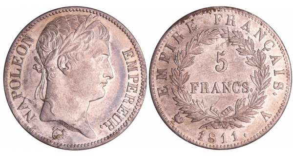 Napoléon 1er (1804-1814) - 5 francs revers empire 1811 A (Paris)