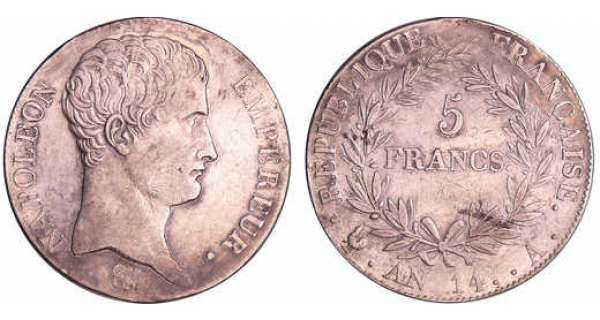 Napoléon 1er (1804-1814) - 5 francs An 14 A (Paris)