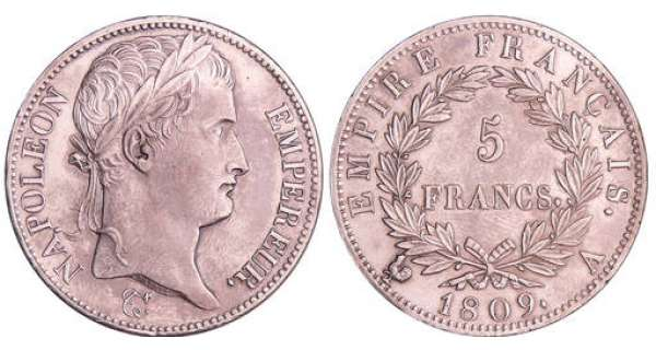 Napoléon 1er (1804-1814) - 5 francs revers empire 1809 A (Paris)