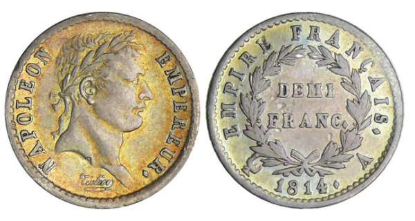 Napoléon 1er (1804-1814) - 1/2 franc revers empire 1814 A (Paris)