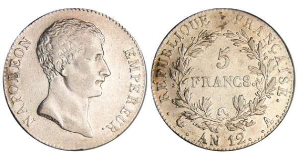 Napoléon 1er (1804-1814) - 5 francs An 12 A (Paris)