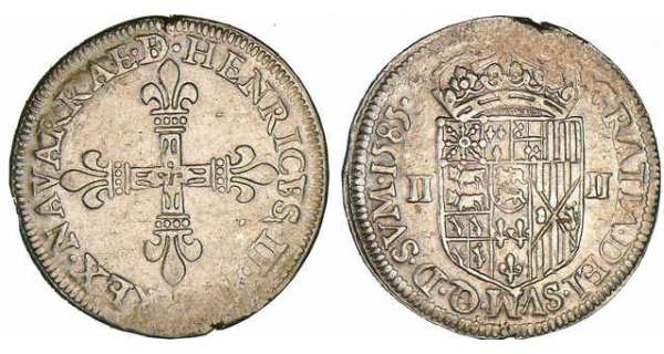 Navarre - Henri III de Navarre, II de Barn - Quart d'cu 1585 (Pau)