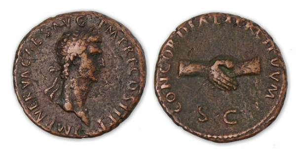Nerva - As (96, Rome) Mains jointes. A/ IMP NERVA CAES AVG P M TR P COS II P P. Buste lauré à droite. R/ CONCORDIA EXERCITVVM / SC. Deux mains jointes.