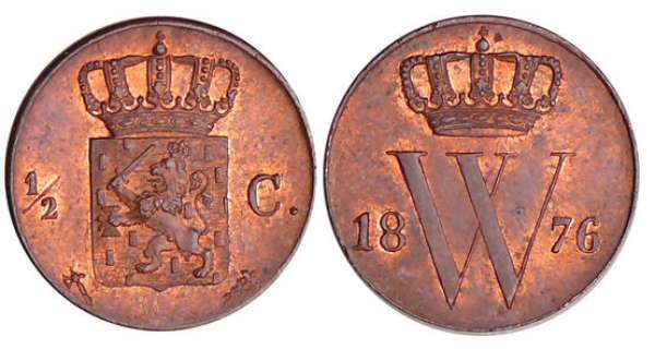 Pays-Bas - Willem III (1849-1890) - 1/2 cent 1876