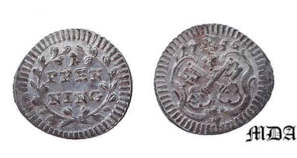 Regensburg - Pfenning 1756 UNC Coin is Uncircled