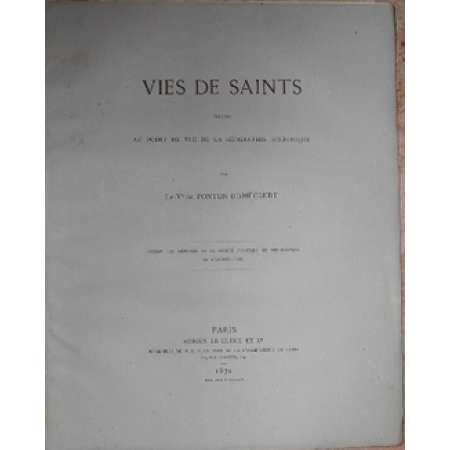 Vies des saints par Ponton d'Amécourt - 1870 Paris 1870 - Vies des saints par Ponton D'Amecourt. 43 pages.